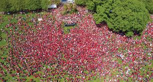 Aerial view of union members in Salem 2019.